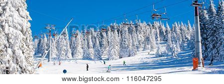 Ski resort Kopaonik, Serbia, ski lift, slope, people skiing