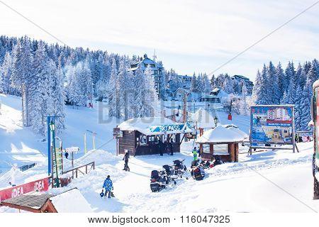 Panorama of ski resort Kopaonik, Serbia, people, lift, mountains
