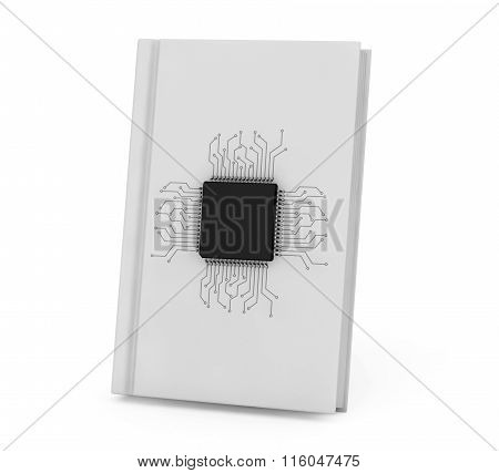 Digital Book Concept. Microchip With Circuit Over Bank Book