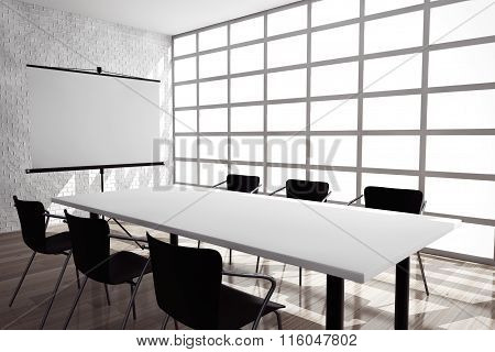Projection Screen, Table And Chairs In Office Room