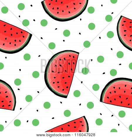 Seamless hand drawn watermelon pattern
