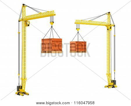 Tower Cranes With Stacked Red Bricks Over Wooden Pallet