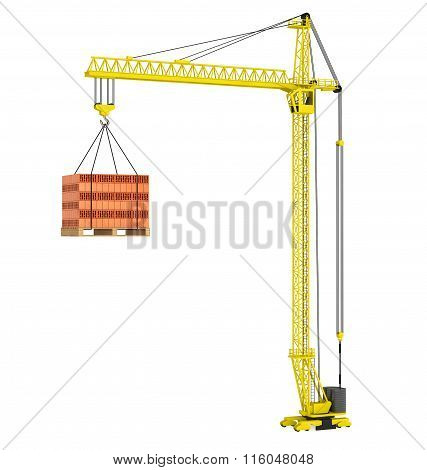Tower Crane With Stacked Red Bricks Over Wooden Pallet