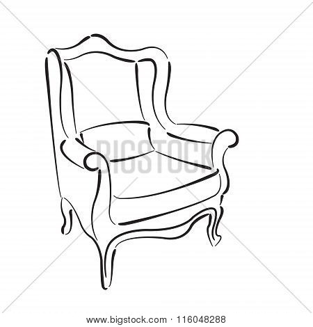 Elegant sketched armchair. Vector illustration.