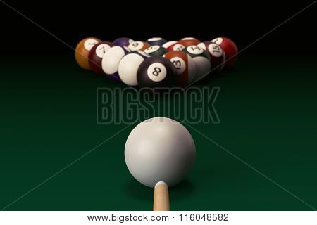 Billiard Table With Balls Set And Cue