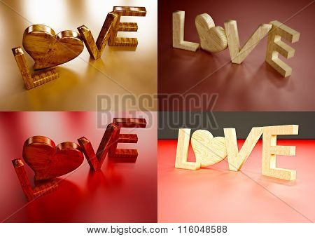 Dimensional Inscription Of Love Set Of Pictures