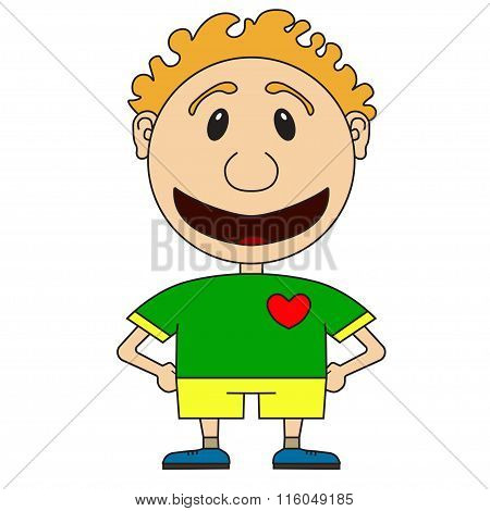 Illustration Of The Cheerful Boy Of The Football Player In A Football Form