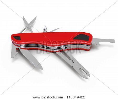 Pocket knife isolated on white background. 3d illustration