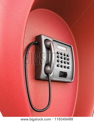 Public red phone macro. 3d illustration