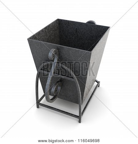 Street trash can isolated on a white background. 3d rendering