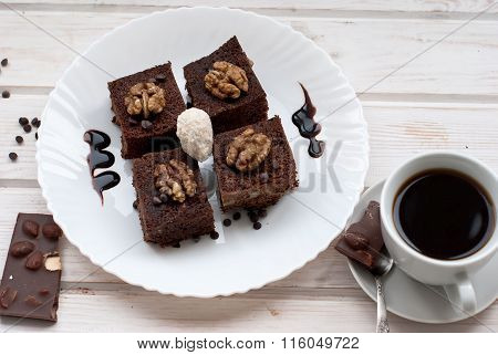 Homemade Cake Brownie With Cup Of Coffee
