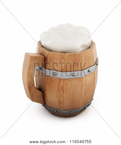 Wooden beer mug isolated on white background. 3d rendering