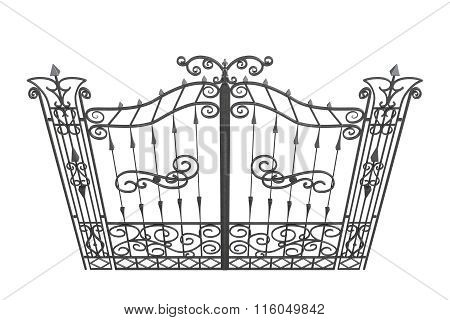 3D forged gate isolated on a white background