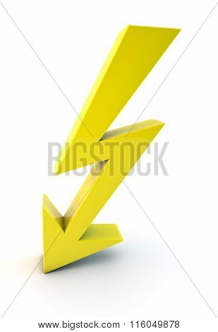 3D Yellow Lightning Symbol