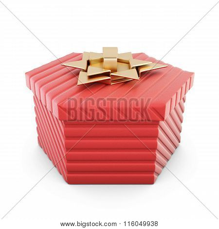 Red gift box isolated on white background. 3d render image.