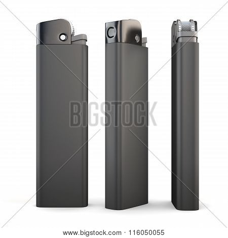 Three black lighter on white background.  3d rendering.