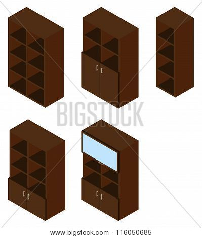 Set Of Five Book Cupboards. Isometric.