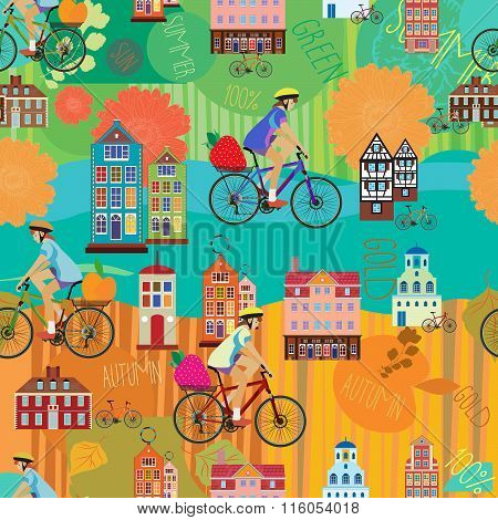 Girl on the bike. Summer seamless background. Autumn seamless background.