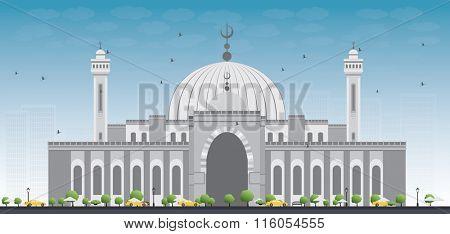 Al Fateh Grand Mosque in Manama City. Bahrain. Vector Illustration.