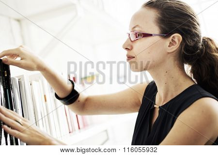Woman Book Category Knowledge Wisdom Concept