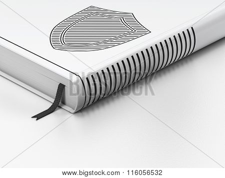 Privacy concept: closed book, Shield on white background