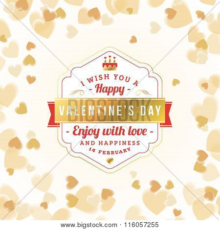 Happy Valentines Day Typographical Golden Badge. Valentines Day Card. Vector Illustration. Design Te