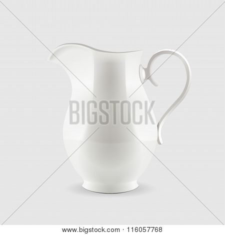 White pitcher isolated on grey background