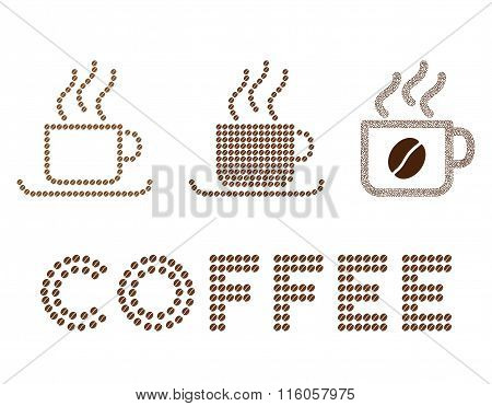 Coffee cups vector composition with coffee beans
