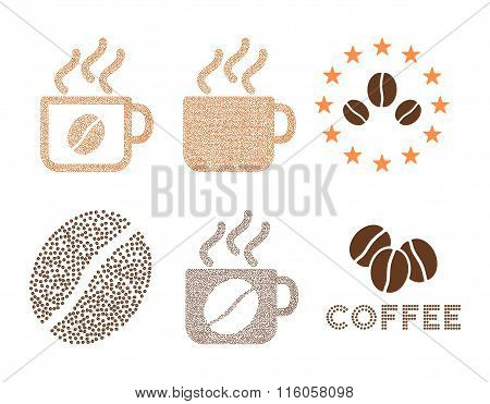 Coffee cups and logo vector composition with coffee beans