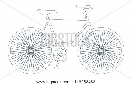 Vector symbol of bike silhouette with outline or line icon