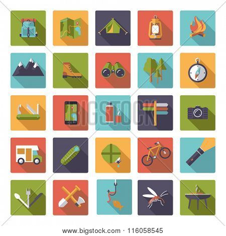 Set of flat design camping, hiking and outdoor pursuit vector icons in rounded squares