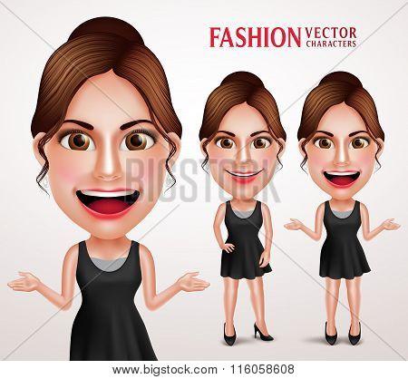 Fashionable Woman Vector Character Wearing Stylish Casual Dress