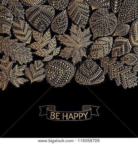 Golden pattern with different tree leaves such as oak and maple, chestnut and birch, aspen and linde