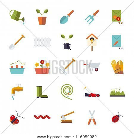 Isolated flat design gardening vector icons
