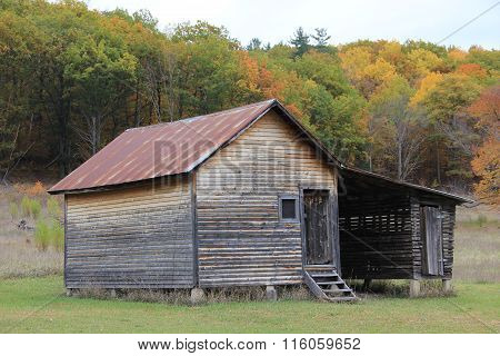 Corn crib in fall
