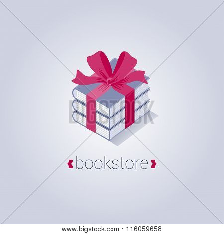 Bookstore vector logo template with flat icon