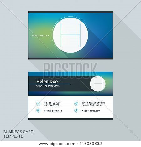 Creative And Clean Business Card Or Name Badge Template. Logotype Letter H. Flat Design Vector Illus