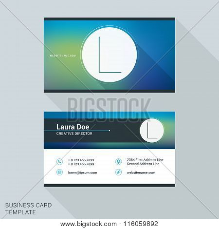 Creative And Clean Business Card Or Name Badge Template. Logotype Letter L. Flat Design Vector Illus