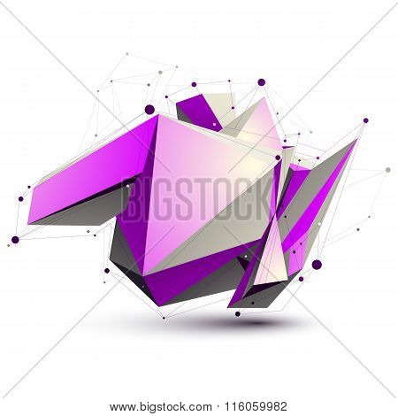 Magenta Spatial Lattice Technology Construction, Abstract Unusual 3D Figure With Lines Mesh. Asymmet