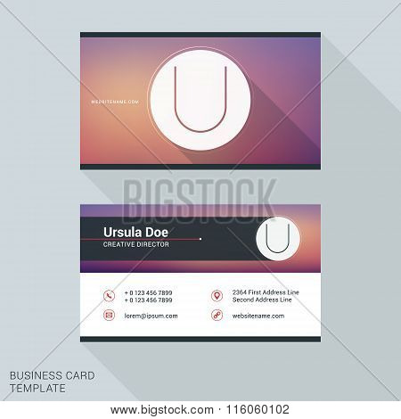 Creative And Clean Business Card Or Name Badge Template. Logotype Letter U. Flat Design Vector Illus