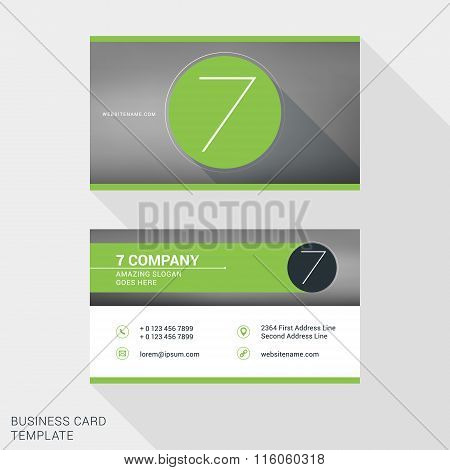 Creative And Clean Business Card Or Name Badge Template. Logotype Number 7. Flat Design Vector Illus