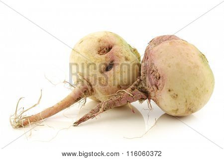 two whole watermelon radishes on a white background
