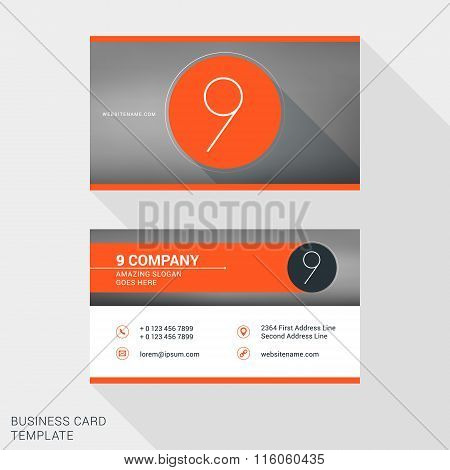 Creative And Clean Business Card Or Name Badge Template. Logotype Number 9. Flat Design Vector Illus