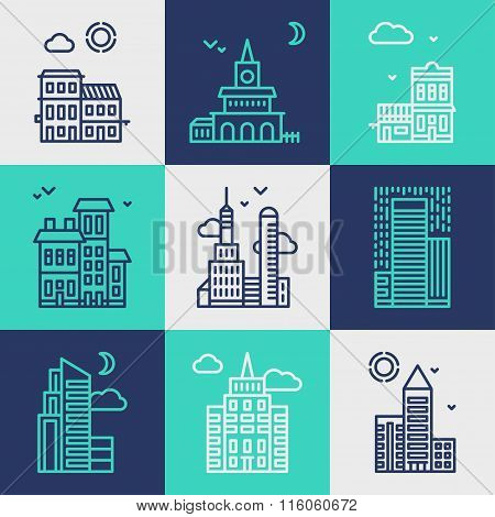 Set Of Flat Style Line Art Vector Illustrations For Modern Buildings And Skyscrapers