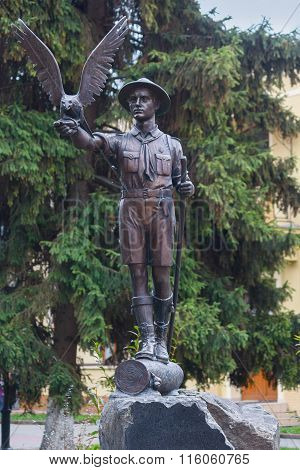Ivano-frankivsk, Ukraine - October 17, 2015: Monument To The Young Scouts That Have Not Betrayed The