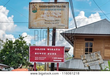 Street Signs Of Buntu Pune Village In Tana Toraja. Indonesia