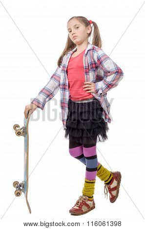 Pretty Little Girl  With Skateboard  Over White Background