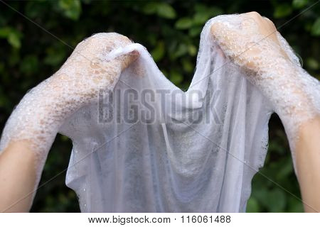 Hand Washing And Remove Stains On White Clothes.