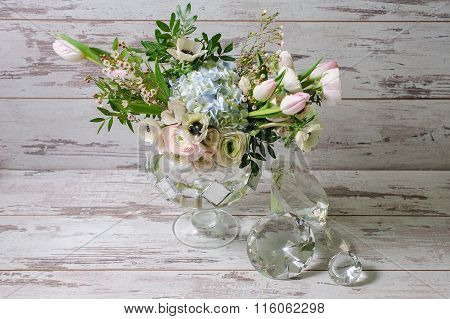 Ranunculus And The Anemones In Vase Of Glass.