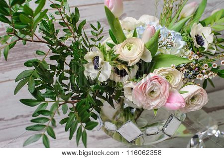 Bouquet  In Vase Of Glass.